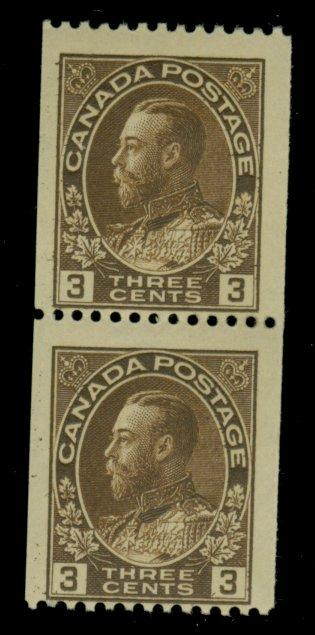 Canada #134 MINT Pair F-VF OG NH Cat$44+