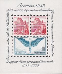 Switzerland 1938 Aarau Stampshow Souvenir Sheet. VF/Never Hinged/(**)