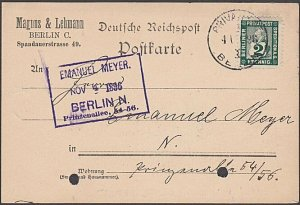 GERMANY BERLIN Private Post 1896 2pf on postcard used.......................B350