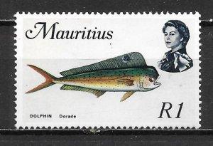 Mauritius 353a 1r Fish single MNH