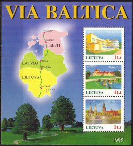 Lithuania 1995 Road Via Baltica joint issue with Latvia Estonia Maps S/S MNH