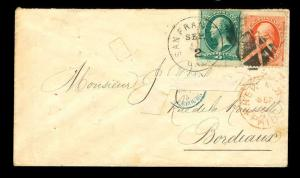momen US Stamps 1875 #147 & #149 on Cover to France