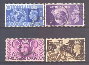 GB Scott 271/274 - SG495/498, 1948 Olympic Games Set used
