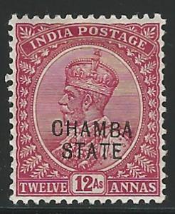 India, Chamba, 1913, Scott #42, 12a claret, mint, H., V.F.