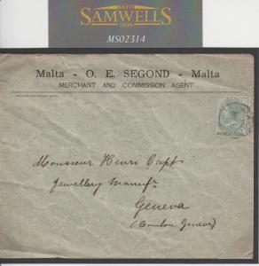 MS2314 1897 MALTA Printed Matter Rate ½d Postage Only Cover Switzerland Unsealed