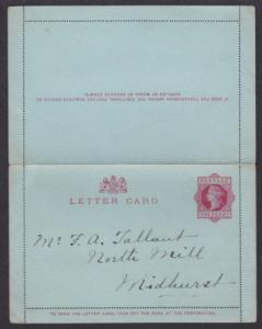 Great Britain H&G A1 used 1892 1p QV Letter Card