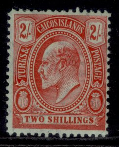TURKS & CAICOS ISLANDS EDVII SG125, 2s red/green, LH MINT. Cat £45.
