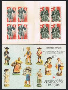 France B503a booklet,MNH.Michel 2054-2055 MH. Red Cross-1977:Christmas Figurine.