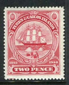 TURKS CAICOS ISLANDS; 1948 early GVI issue fine Mint hinged 2d. value
