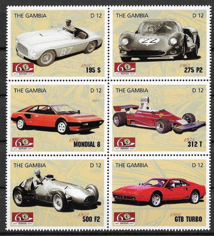 Gambia MNH Block Of 6 Race Cars