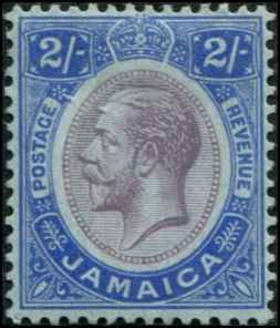 Jamaica SC# 69 SG# 66 George V 2shillings MH surface colored paper wmk 3