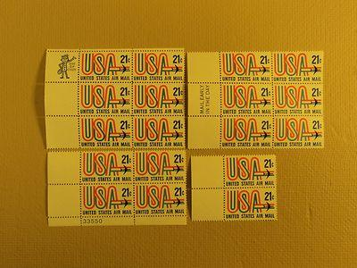 USPS Scott C81 21c US Air Mail Jet 1971 Lot Of 4 Plate Bl...