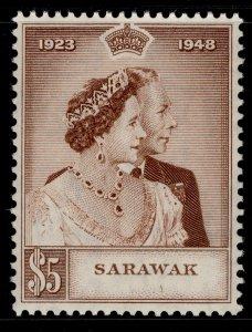 SARAWAK GVI SG166, $5 brown, NH MINT. Cat £48. RSW