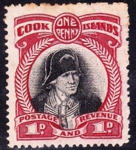 COOK ISLANDS 1932 1d Black & Lake SG0100c MH No Gum