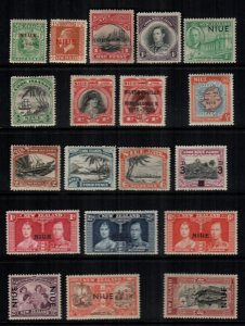 Niue  19  different mint hinged and used