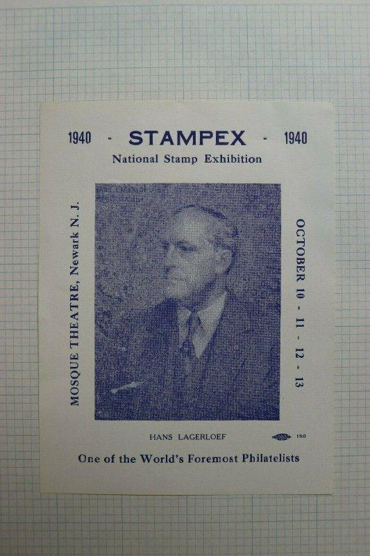 1940 Stampex  Natl Stamp Expo Newark NJ Event Souvenir Ad