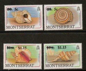 MONTSERRAT SG843/6 1991 SURCHARGE SET (SHELLS) MNH