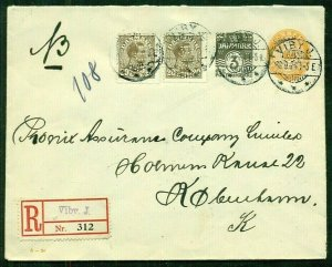 DENMARK 1924, 20ore PERFIN pair tied on 3+7ore envelope, registered, pretty & VF