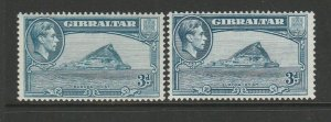 Gibraltar 1938/51 3d P13 both listed shades MM SG 125b & 125bb