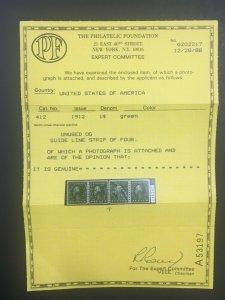 MOMEN: US STAMPS #412 LINE PAIR MINT OG NH VF/XF PF CERT LOT #71312