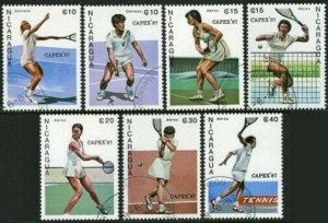 Nicaragua 1624-1630,CTO.Michel 2782-2788. CAPEX-1987.Tennis players.