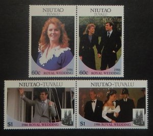 Tuvalu Niutao 51-52. 1986 Royal Wedding, se-tenant pairs, NH