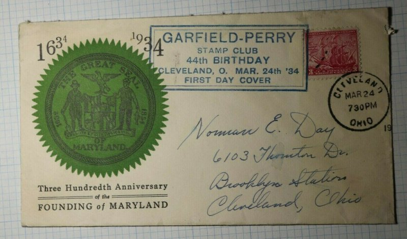 GPSC First Day Issue Cleveland OH Philatelic Convention Cachet Cover 1934