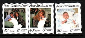New Zealand-Sc#B134-6-unused NH Semi-Postal -Royal Baby-1989-