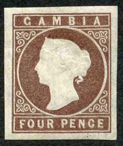 Gambia SG5 1874 4d Brown wmk CC Fine M/Mint