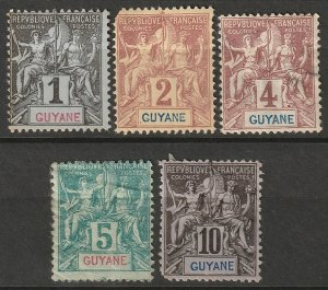 French Guiana 1892 Sc 32-5,37 set low values MNG
