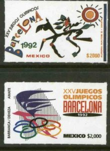 MEXICO 1718-1719, SUMMER OLYMPIC GAMES, BARCELONA.  MINT, NH. VF.