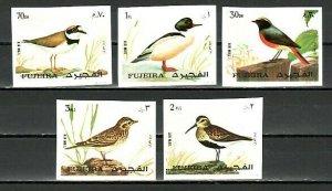 Fujeira, Mi cat. 1356-1360 B. Various Birds, IMPERF issue. *