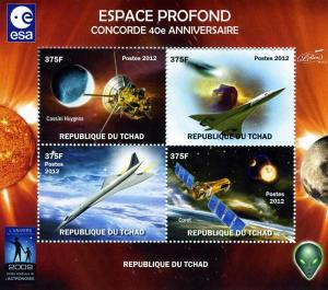 Chad 2012 Deep Space-Concorde Anniv.Sheet Perforated mnh.vf