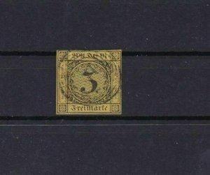 BADEN 1851 3k ON ORANGE  IMPERF STAMP CAT £55   REF 6802