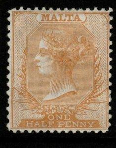 MALTA SG16 1878 ½d YELLOW-BUFF p14x12½ MTD MINT