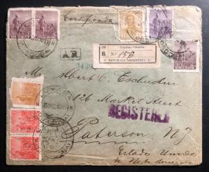 1912 Cordoba ARGENTINA Registered Cover To  Paterson NJ USA Back Wax Seal