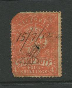 STAMP STATION PERTH: Australia Victoria #? Used 1879? Single 4/- Stamp