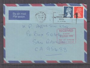 GREAT BRITAIN, 1991 Airmail cover, Machin 17p., 22p. to USA, Courier to Nigeria