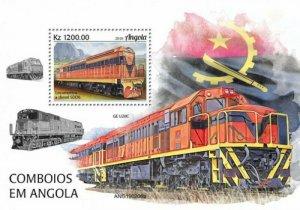 Angola - 2019 Trains on Stamps - Stamp Souvenir Sheet - ANG190206b