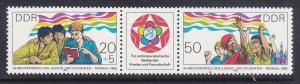 Germany DDR 2489a MNH 1985 12 World Youth & Student Festival Moscow Joint Pair