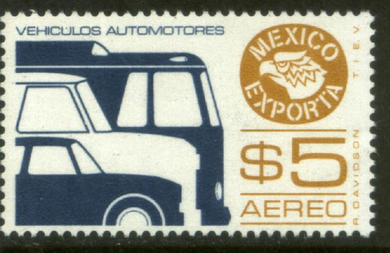 MEXICO EXPORTA C497, $5P. CARS/BUSES, PAPER 1. MNH
