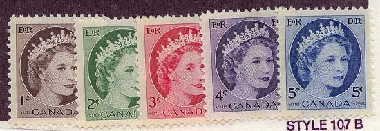 Canada - #337p-341p 1962 1st Winnipeg Tagged Issues mint F-VF-NH