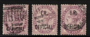 GREAT BRITIAN - QV 1p Overprints ARMY and IR 1896
