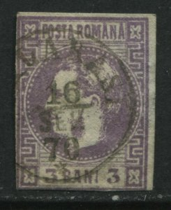 Romania 1870 3 bani violet CDS used