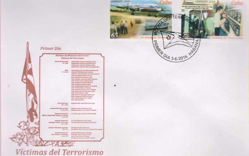 O) 2016 CUBA-CARIBE, VICTIMS OF TERRORISM -NO PEACE, FDC XF