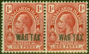 Turks & Caicos Is 1917 1d Red SG140ab Opt Double in Horiz Pair with Normal F MNH