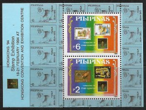 PHILIPPINES 2897, MNH  S.S OF 2, HONG KONG STAMP EXHIBITION '94
