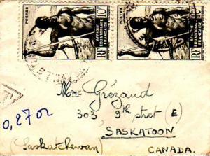 French Equatorial Africa 10F Niger Boatman (2) 1950 Brazzaville R.P. A.E.F. M...
