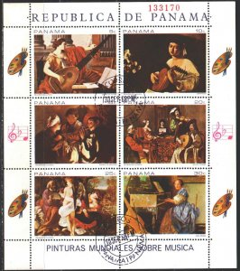 Panama. 1968. Small sheet 1087-92. Painting, music. USED.