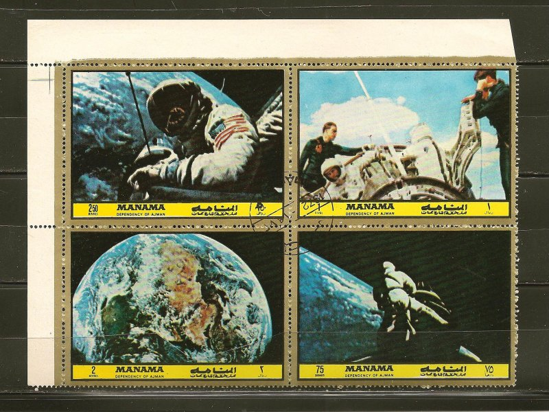 Ajman American Space Flight 1972 Block of 4 Different CTO